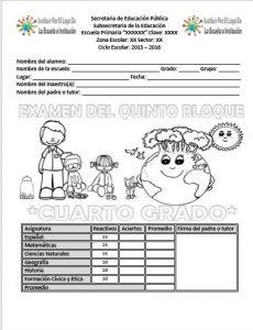 ExamenCuartoGrado5to