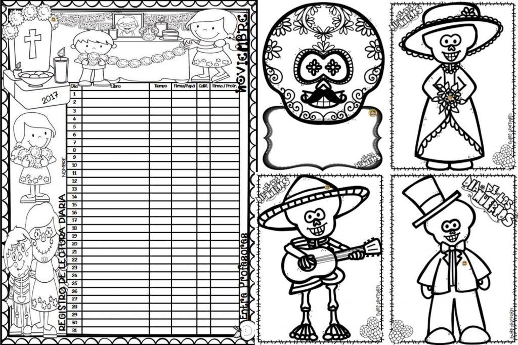 Registro De Lectura Del Mes De Noviembre Y Dibujos Para Colorear De