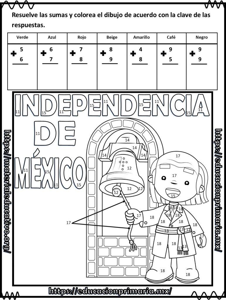 Suma Resta Y Colorea El Dibujo De La Independencia De México Para