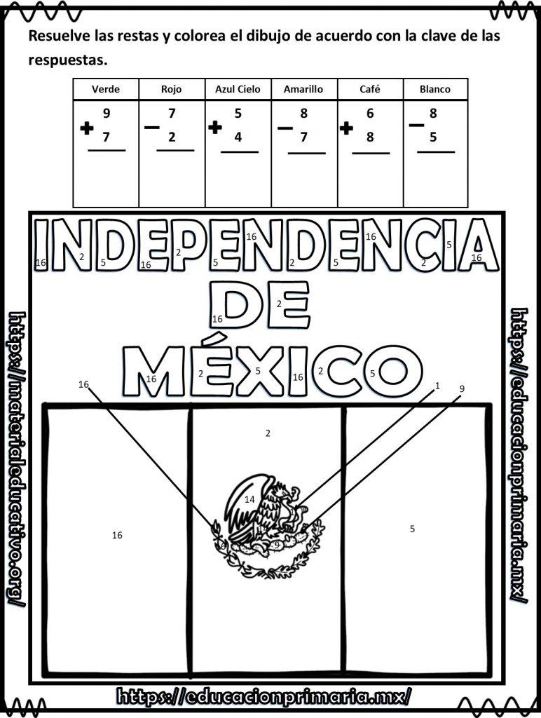 Suma Resta Y Colorea El Dibujo De La Independencia De