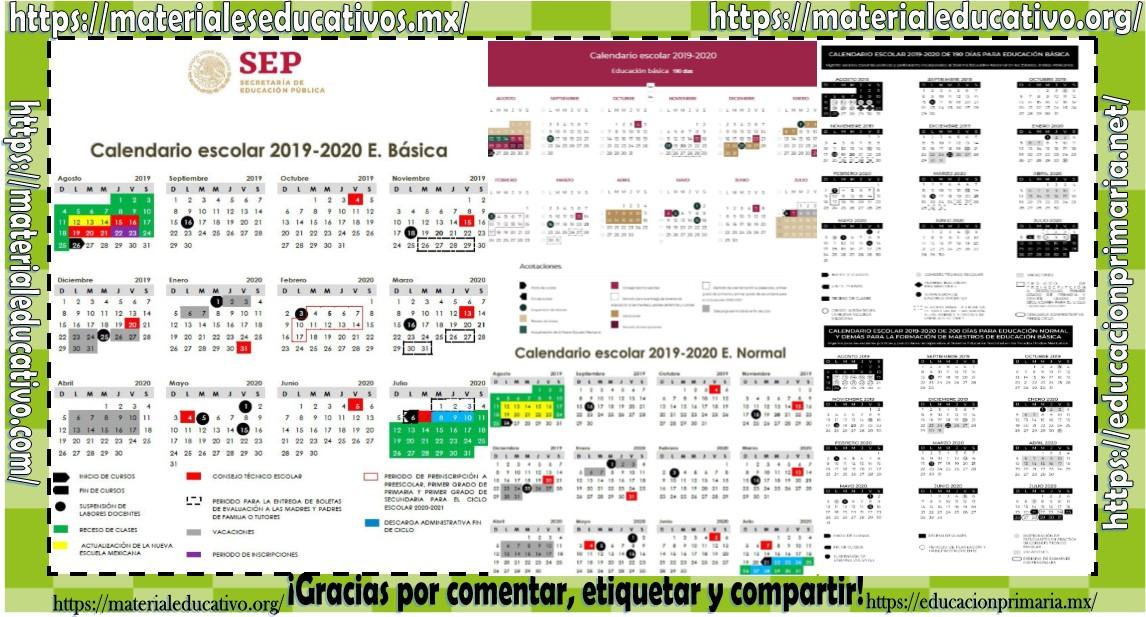 Calendario Junio 2020 Pdf.Calendario Escolar 2019 2020 De Educacion Basica Y Normal En Pdf