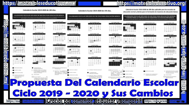 Calendario Escolar 2020 Sep Oficial.Propuesta Del Calendario Ciclo Escolar 2019 2020 Y Sus