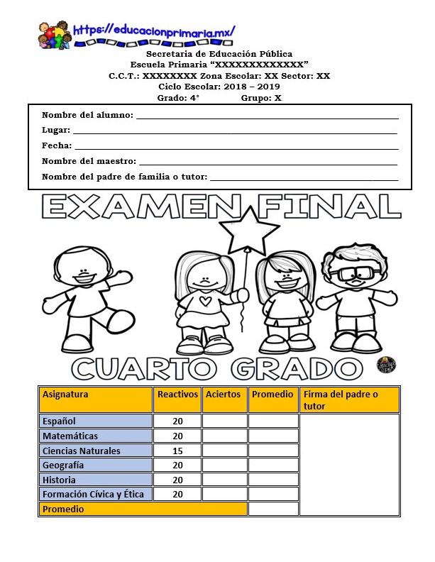 Examen Final De Preguntas Abiertas Del Cuarto Grado Ciclo Escolar 2018 2019 Educacion Primaria