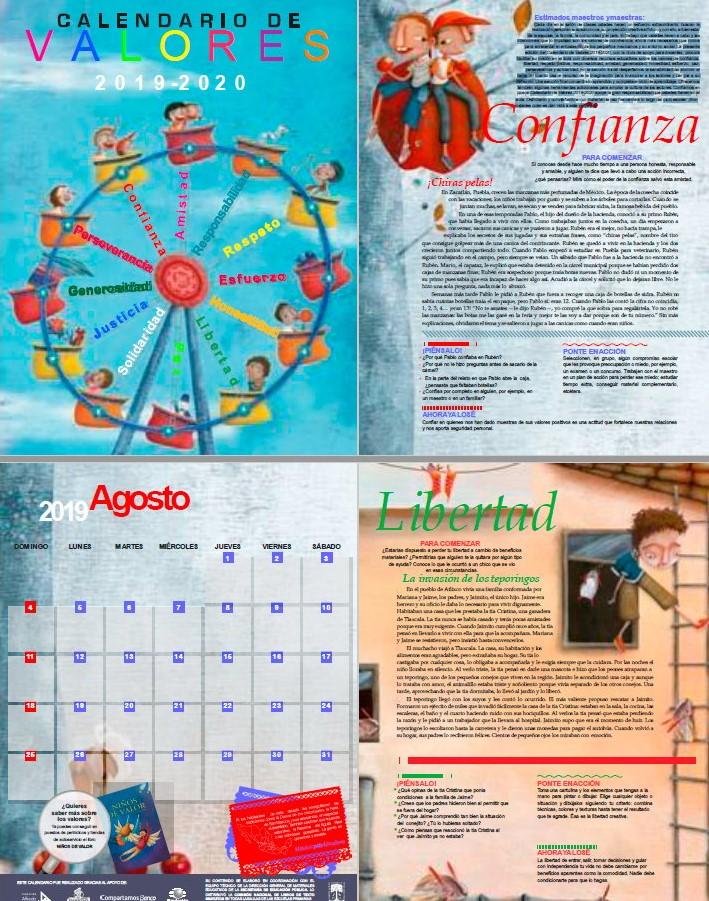 Calendario D.Maravilloso Calendario De Valores 2019 2020 Educacion