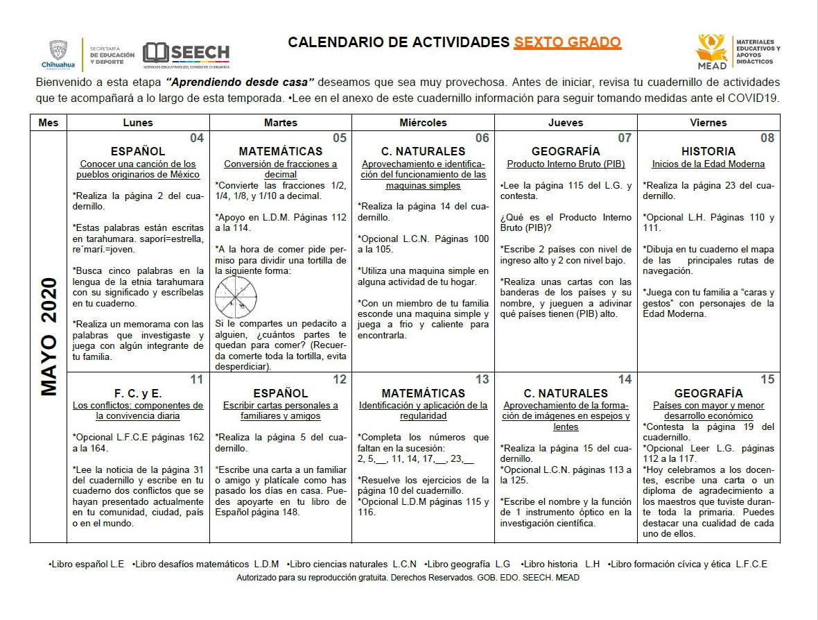 Calendario De Actividades Para Sexto Grado De Primaria Aprendiendo Desde Casa De Los Meses Mayo Y Junio Educación Primaria
