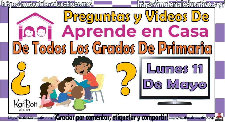 Preguntas Y Videos Para Primaria Del Programa Aprende En Casa Por Tv Del Dia Lunes 11 De Mayo 2020 Educacion Primaria