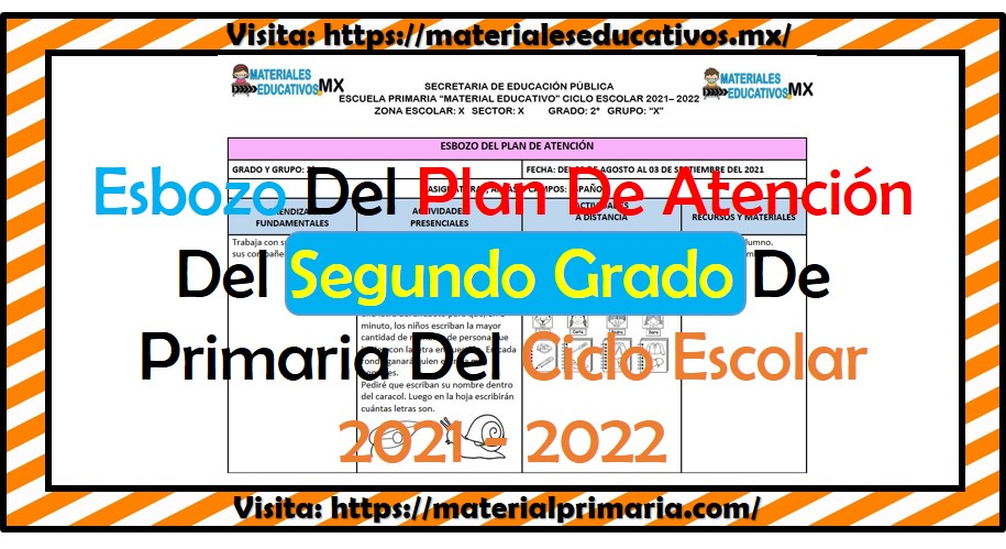 Esbozo del plan de atención para el segundo grado de primaria ciclo escolar 2021 - 2022