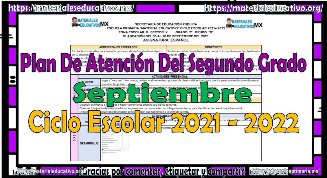 Plan de atención o planeación del segundo grado de primaria ciclo escolar 2021 - 2022
