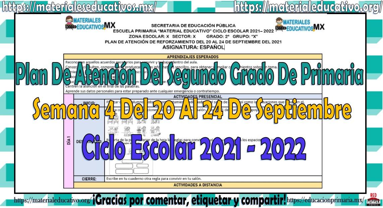 Plan de atención del segundo grado de primaria semana 4 del 20 al 24 de septiembre ciclo escolar 2021 - 2022